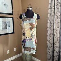 Vintage PK Mui 100% Silk Sleeveless Shift Dress Womens Size 8