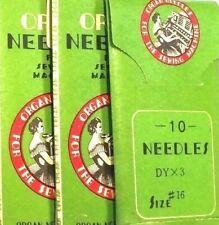30Pcs. Industrial Sewing Machine ORGAN NEEDLES DYX3, 7x3, 794 SIZE 16/100