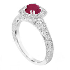 Platinum Red Ruby and Diamonds Engagement Ring 1.32 Carat Vintage Antique Style