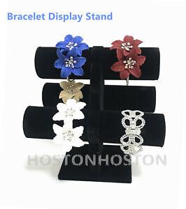 Triangle 3 Tier Black Velet Jewelery Bangle Bracelet Watch Display Stand Rack