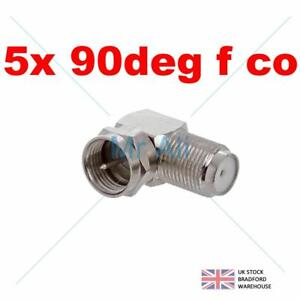 5 x F PLUG TO SOCKET RIGHT ANGLED 90 DEGREE ADAPTOR SATELLITE VIRGIN CONNECTOR