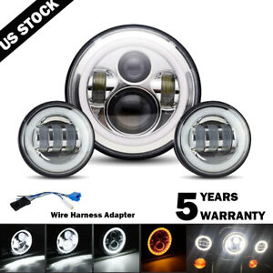 """7""""inch LED DRL Headlight + Passing Lights For Harley Davidson Touring Road King"""