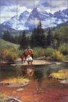 Ceramic Tile Mural Backsplash Shower Sorenson Western Cowboy Art RW-JS045