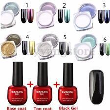 15Pc/set Nail Art Chameleon Mirror Glitter Powder Chrome Pigment Black UV Gel 2G