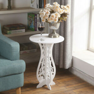 Small Round Side Table Beside Tea Coffee Lamp Plant Stand Modern White Furniture