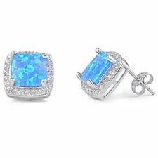 BLUE FIRE OPAL & CZ SQUARE STUD .925 Sterling Silver Earring