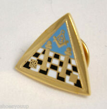 Masonic Temple & Symbols In Triangle Freemason Enamel Lapel Pin Badge