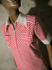 CHIC VINTAGE ROBE RAYéE COTON 70s VTG DRESS STRIPE CHEVRON KLEID ABITO (36/38)