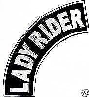 Lady Rider Patch Top Rocker Black Back Patches for Vest Jacket