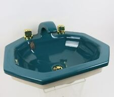 "Luxury Bathroom Sink Green by Eljer ""Verde""  Brass Faucet Jonquil Vintage"