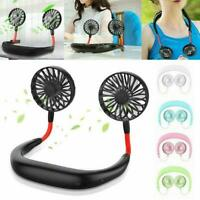 Portable Lazy Neck Hanging Style Dual Cooler Mini USB Rechargeable Fan