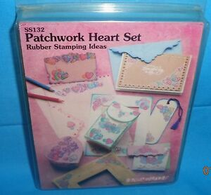 STAMPENDOUS! PATCHWORK HEART SET SET OF 7 FOAM MOUNTED RUBBER STAMPS 1996