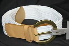 """Charter Club Stretch Belt Straw Woven & Leather Tab 1.5"""" Wide Cinch White S/M"""