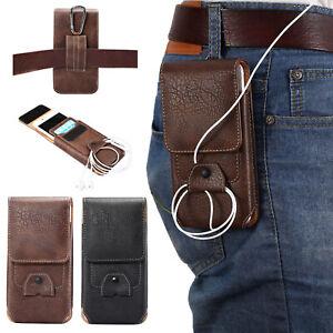 Men's Vertical Belt Clip Holster Waist Bag Leather Pouch Case Cover For Phones