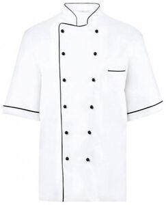 Greiff Homme Veste Cuisinier Demi Manches 760.134.472 Blanc/Noir Gr. 46 Neuf