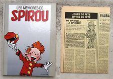 Les Mémoires de Spirou EO 1989 NEUF + article de presse d'époque