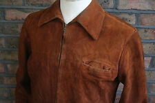 VTG 50s AMERICAN SUEDE LEATHER LONG SPORT JACKET COAT MOTORCYCLE SHORT 42