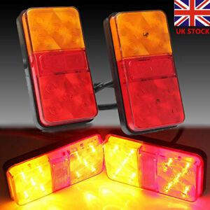 Pair 12V Rear Stop LED Lights Tail Indicator Lamp Trailer Truck  Van Bus Lorry