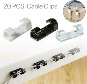 20PCS Cable Tidy Clips Organizer Holder Wire Securing Self Adhesive Desk Car