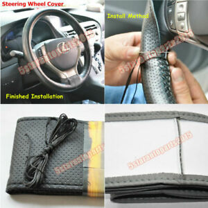DIY PU Leather Steering Wheel Cover Stitch Needle Thread Anti-slip Size-M Black