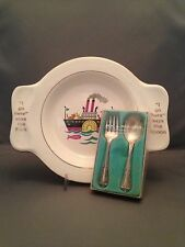 """Homer Laughlin Child's """"My Own Plate"""" & Wm. A. Rogers Child's Fork & Spoon"""