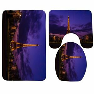 3 Piece Purple Sky Paris Eiffel Tower Bathroom Mat Set Contour Mat Toilet Cover