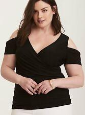 Torrid Women's Plus Size 1 1X Cold Shoulder Surplice Top Sexy (AAA5)