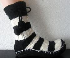 Chaussons Chaussons avec Anti-glisse ABS semelle noir blanc rayé 36/38