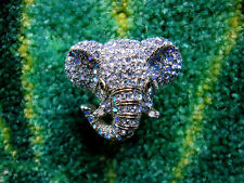 Andrew Hamilton Crawford Blue Crystal Elephant Adjustable Ring Size 5 - 9