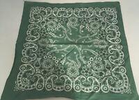 Vintage green with white paisley print bandana scarf handkerchief cotton USA