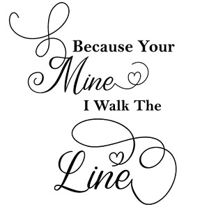 Vinyl Design Wall Decal Sticker 11x11 Because Your Mine Handcrafted Home Decor