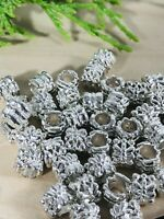 European Large hole Bright Silver Tone Spacers 8x7mm X 5mm Hole 25 beads