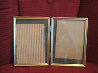 "Vintage Embossed Gold Brass Metal Double Hinged 5x7"" Photo Frame"