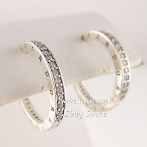 Authentic PANDORA SIGNATURE Silver LOGO HOOPS Earrings 290558CZ NEW with POUCH!