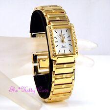 Omax Ladies Gold Pltd Seiko Movement Statement Watch w Swarovski Crystals JHS396