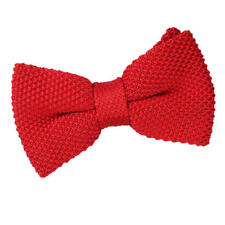 DQT Knit Knitted Plain Solid Silver Classic Mens Pre-Tied Bow Tie