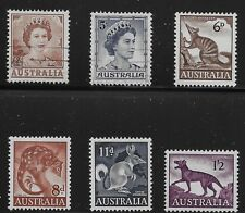 Australia Scott #315, 319-21, 323 & 325, Singles 1959-64 FVF MH/Used