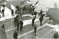 WW II - USA -Photo -- TBF Avengers On Snow Covered Deck of USS Ranger