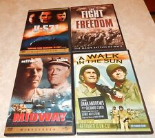 Lot of 4 WWII Movies (DVD, 5-Discs) WS/FS Walk Sun Midway Fight for Freedom U571