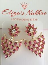 Pink Antique Polki Imitation Diamond Earrings Indian/Pakistani Bollywood Style