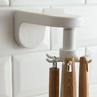 Rotating Utensil Holder Racks Kitchen Wall-Hanger Organizer With 6 Hooks