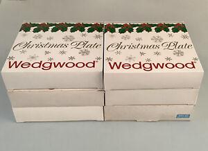 Wedgwood Light Blue Jasperware Boxed Christmas Plates X6 - Job Lot
