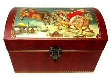 Punch Studio Decorative Chest Trunk Box Santa's Sleigh Christmas 15166 Small