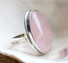 Silberring 59 / 60 Rosenquarz Handarbeit Silber Ring Oval Schlicht Massiv Rosa