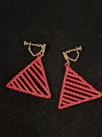 Vintage Gold Tone Pink Metallic Open Triangle Dangle Screw  Back Earrings 11575