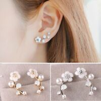 1 Pair Fashion Pearl Flower Ear Stud Earrings Elegant Women Jewelry Gift Party