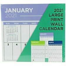 "2021 Large Print Wall Calendar 12""x11"" 16 Month Organizer Sept 2020 - Dec 2021"