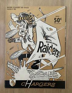 VINTAGE 1964 AFL OAKLAND RAIDERS @ SAN DIEGO CHARGERS FOOTBALL PROGRAM - SEPT 5