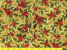Holly & Red Berries on Dark Gold Christmas Quilting Fabric by Yard #3013