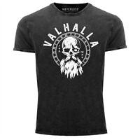 Herren Vintage Shirt Valhalla Totenkopf Odin Runen Wikinger Printshirt T-Shirt